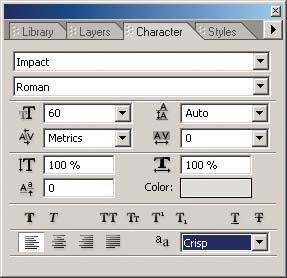Use the Character palette to adjust the attributes of text on your menus.