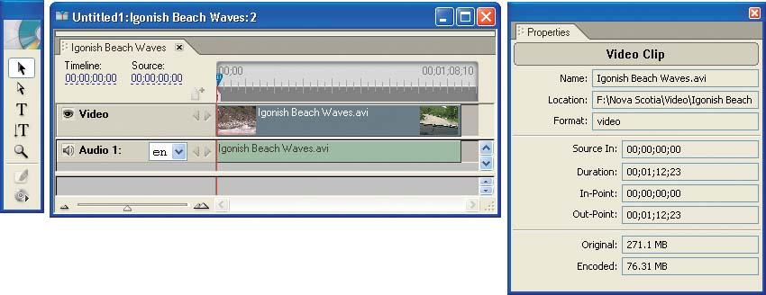 Drag the end of a video or audio clip with the Selection tool to change its duration.