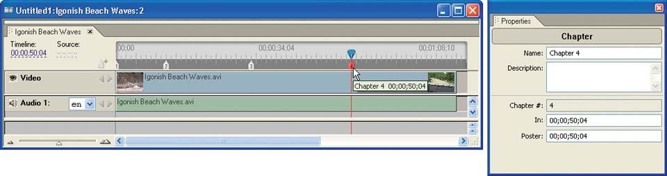 Create chapter points in a timeline.