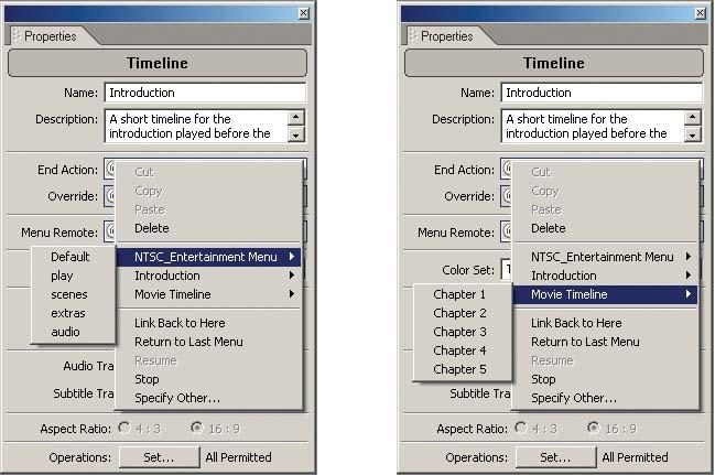 Setting the End Action in the Timeline Properties using the Link Submenu (left: menu; right: timeline).