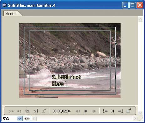 Create subtitles by typing the text directly in the Monitor window.