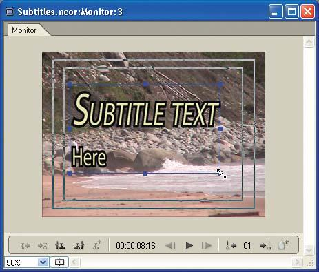 Drag the text bounding box to resize the subtitles, or set text properties in the Character palette.