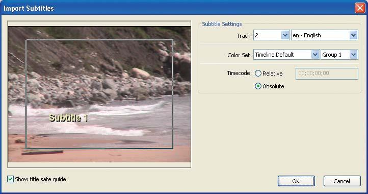 Use the Import Subtitles dialog to specify the destination track and color set for the imported images.