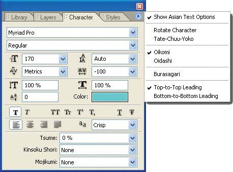 Use the Character palette to set text properties in menus.