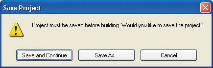 Encore prompts you to save your project before building a DVD.