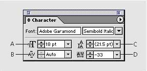 Changing the character size - Adobe® Illustrator® 10 Classroom in a