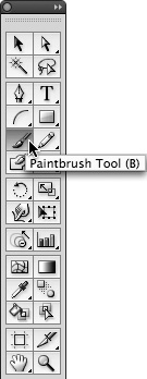 The Paintbrush tool in the toolbox.