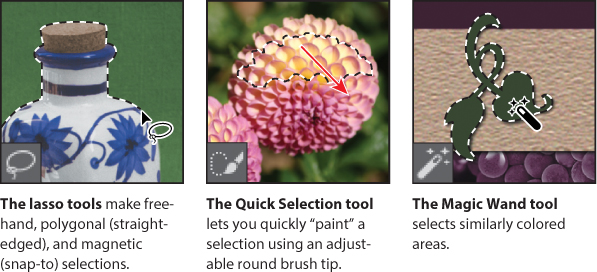 "A screenshot shows the ""Tools Panel"" with options as follows: • The lasso tools make freehand, polygonal (straightedged), and magnetic (snap-to) selections. • The Quick Selection tool lets you quickly ""paint"" a selection using an adjustable round brush tip. • The Magic Wand tool selects similarly colored areas."