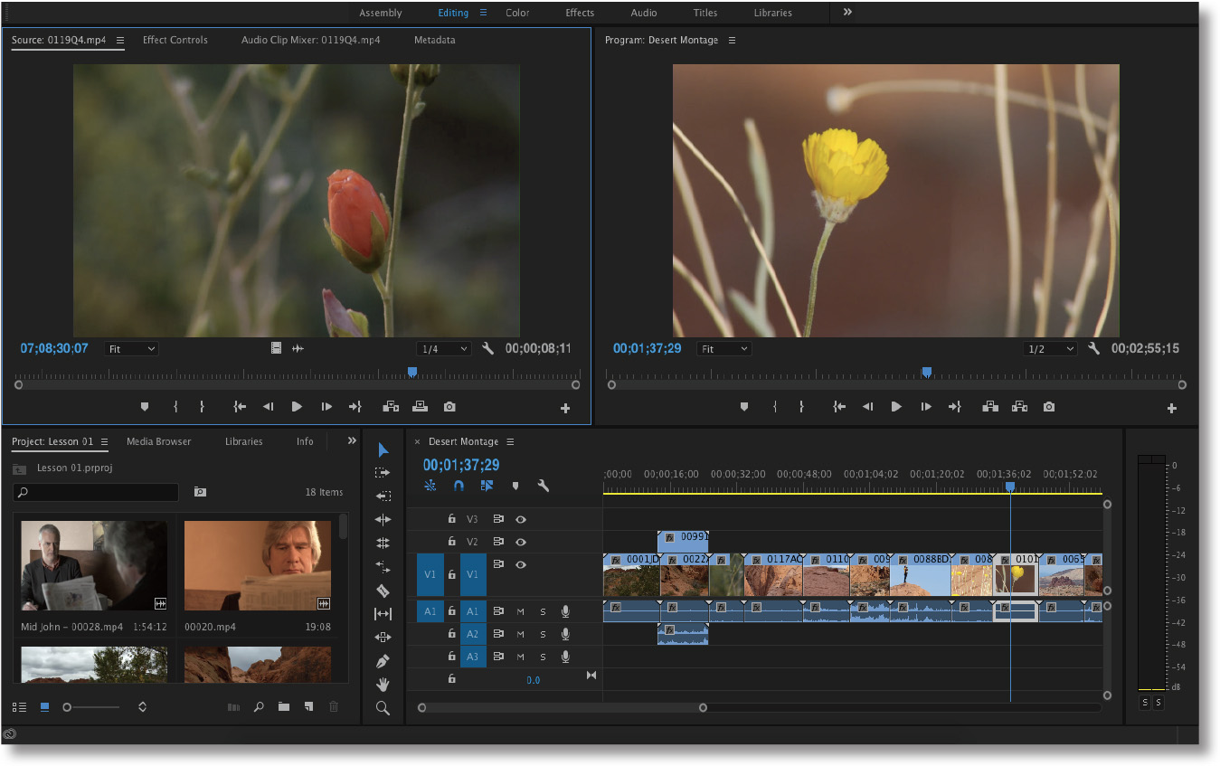 Main user interface elements of Adobe Premiere Pro.