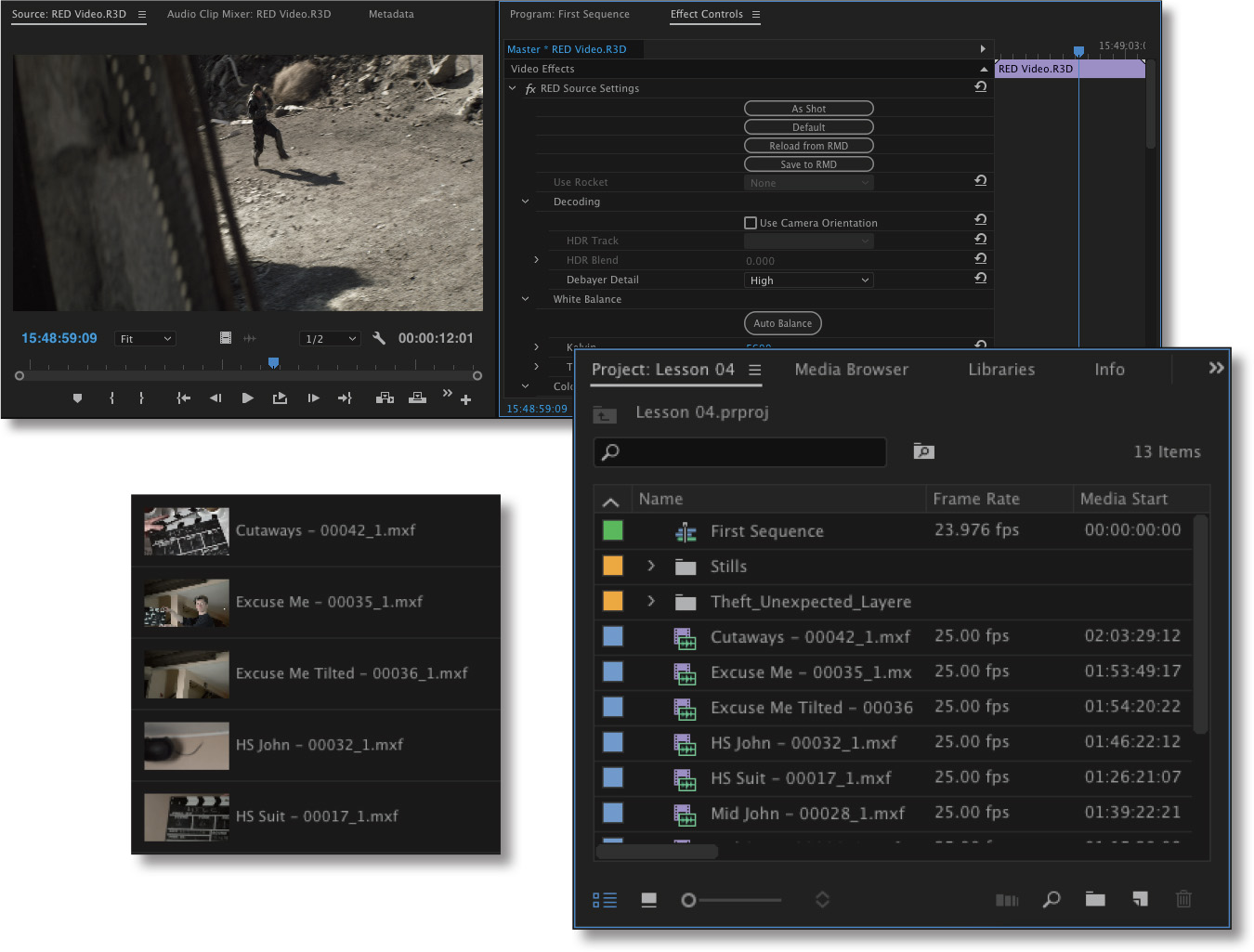 Four cascading panels of the workspace on Adobe premiere Pro: Source Monitor, Effect Controls, Media Browser, and a Cropped panel displaying thumbnails and names of video clips.