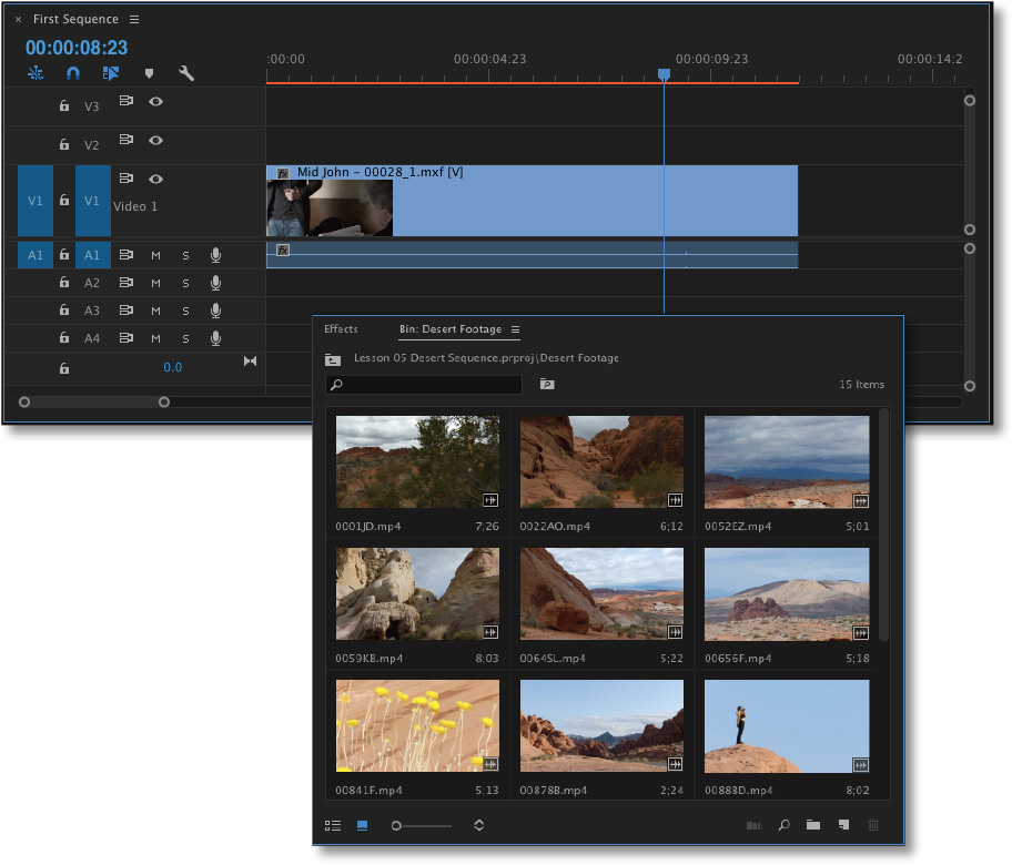 Two cascading panels: One shows the timeline and the other shows 9 clips under Bin: Desert Footage.
