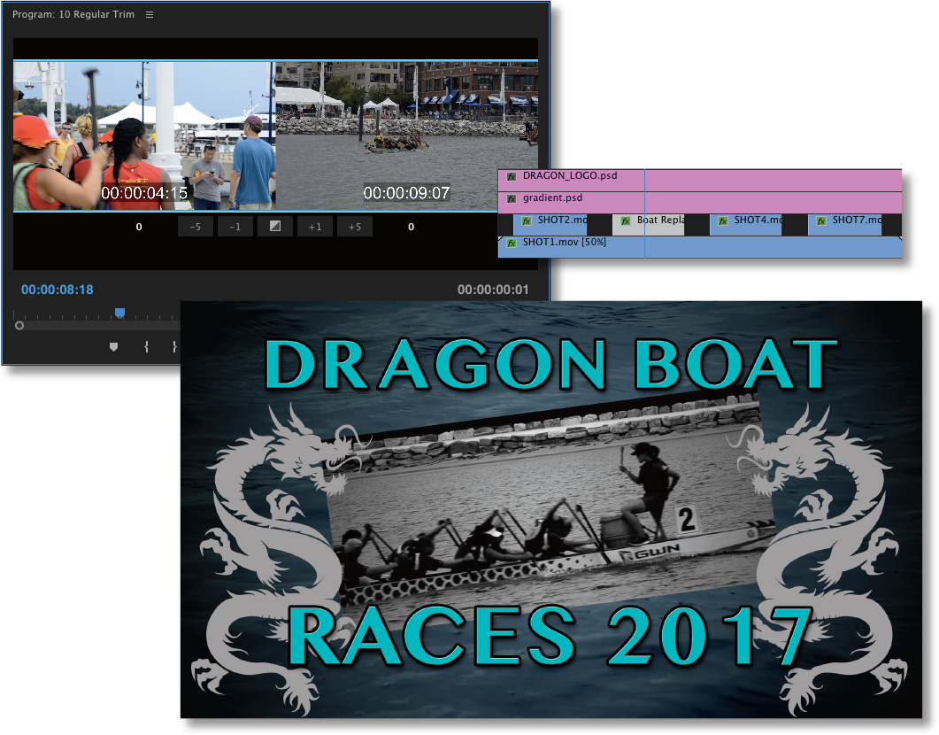 Three cascading screenshots show the Program Monitor, a portion of the timeline panel, and a full resolution video clip.