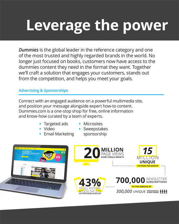Leveraging expertise on powerful multimedia sites. For advertising and sponsorships, visit dummies.com, a one-stop-shop for free online information.