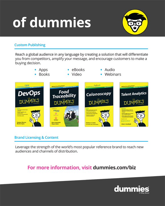 Life made easier by reading books and eBooks, watching videos, and listening to audios and Webinars online. For more information, visit dummies.com/biz.