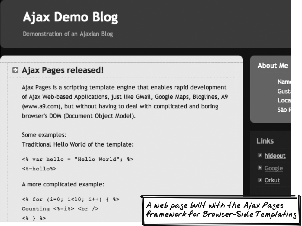 Ajax Pages demo