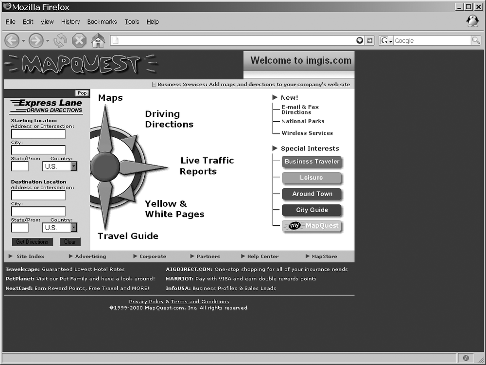 MapQuest's home page in 2000, according to The Wayback Machine ()
