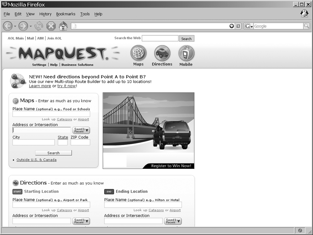 MapQuest's home page, after Ajaxification