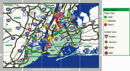 Traffic conditions in New York from TrafficPulse at