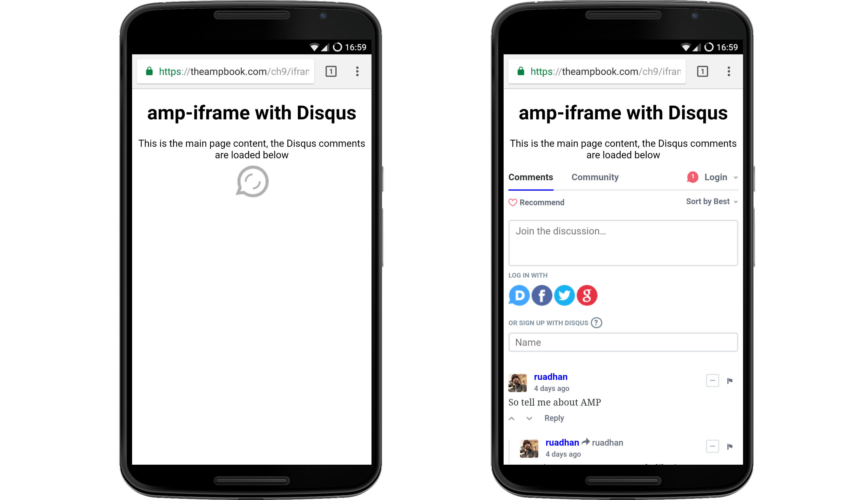 Adding the Disqus <amp-iframe> - AMP: Building Accelerated