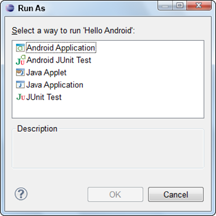 Running The Hello Android App Android Application Development For