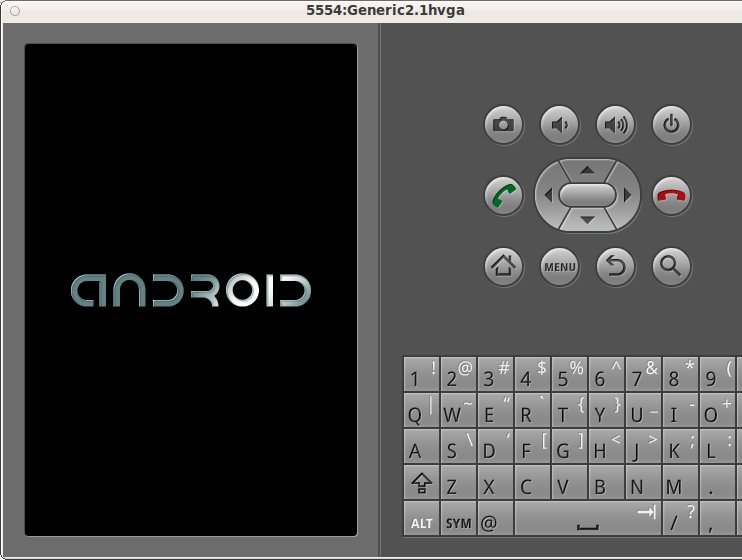 The Android project starting up in the emulator