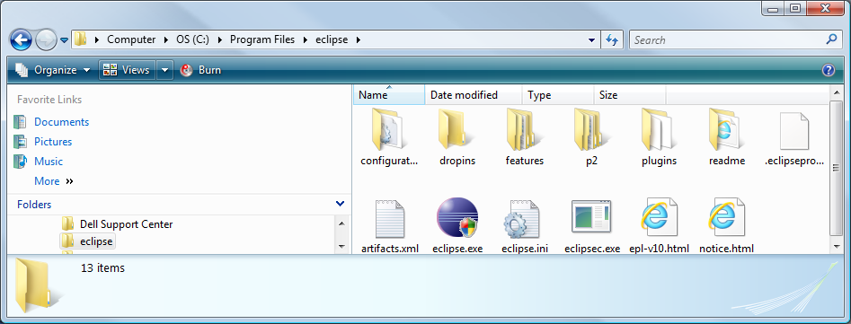 Contents of the Eclipse folder