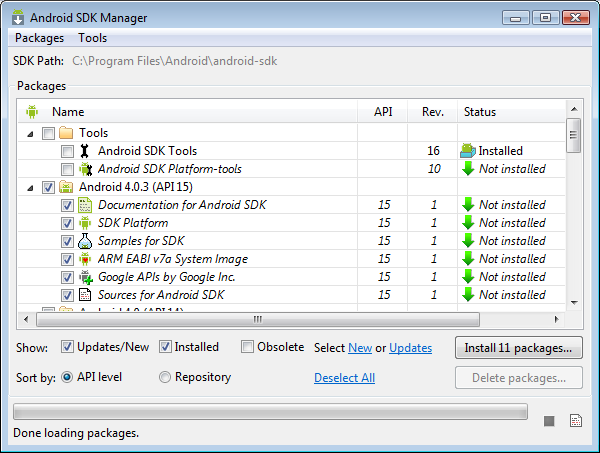 Android SDK Manager, showing installed and downloadable components
