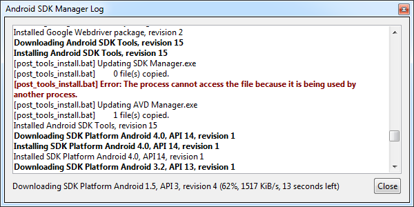 Android SDK Manager Log window