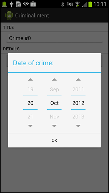 A dialog for picking the date of a crime