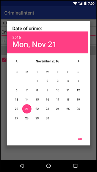 Screenshot shows the CriminalIntent app in Android. The Date of Crime shows a calendar with the date displayed as 2016 Mon, Nov 21.