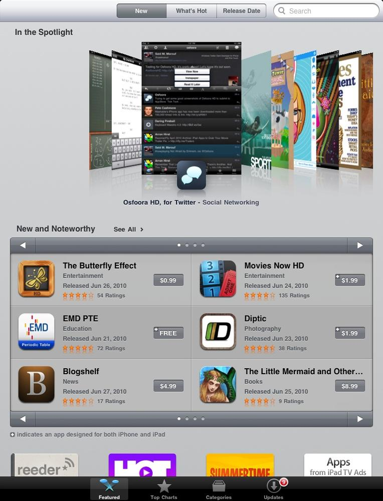 The Featured area of the App Store