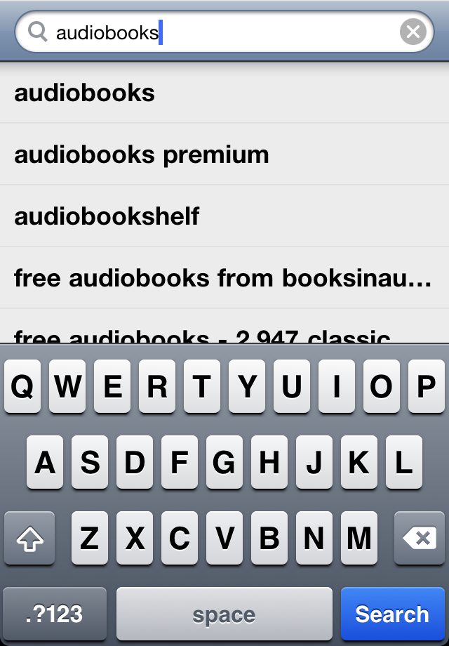 Searching for audiobooks