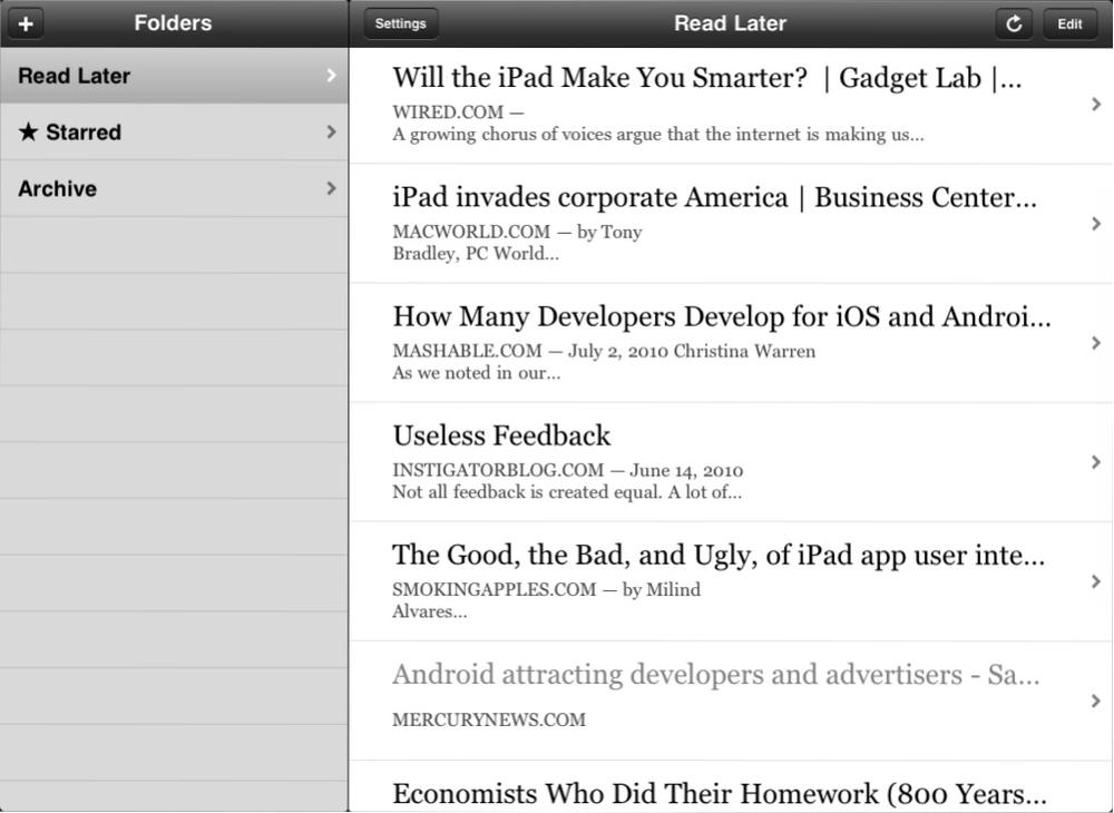 "The ""split view"" in use for the iPad version of Instapaper"