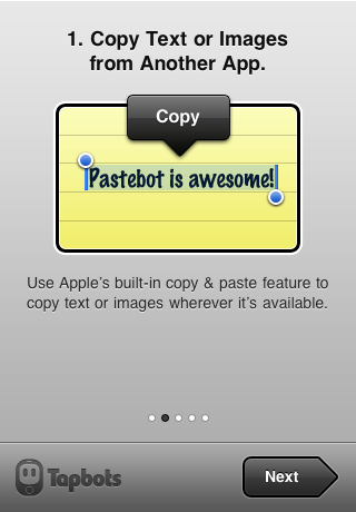 Tapbots' Pastebot initial introduction