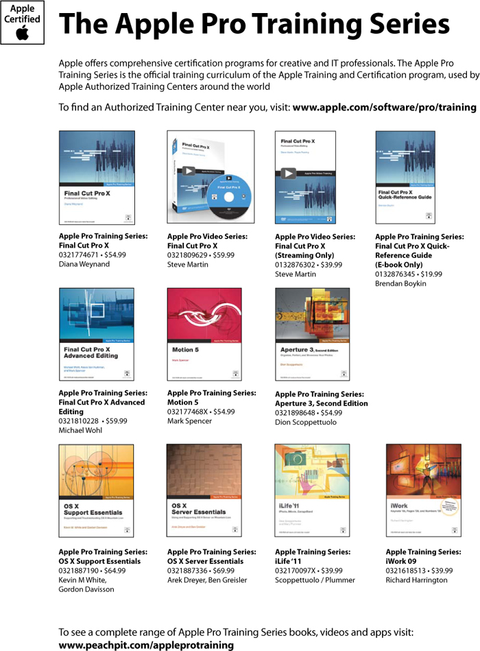 Add Pages Apple Pro Training Series Aperture 3 Second Edition Book