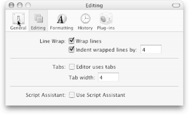 Script Editor's Preferences window. Click a toolbar button to jump right to that particular pane.