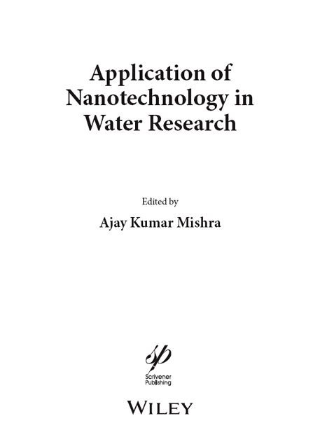 title page application of nanotechnology in water research book