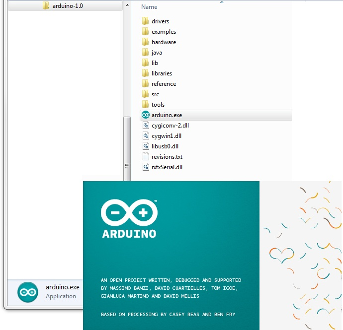 Arduino splash screen (Version 1.0 in Windows 7)