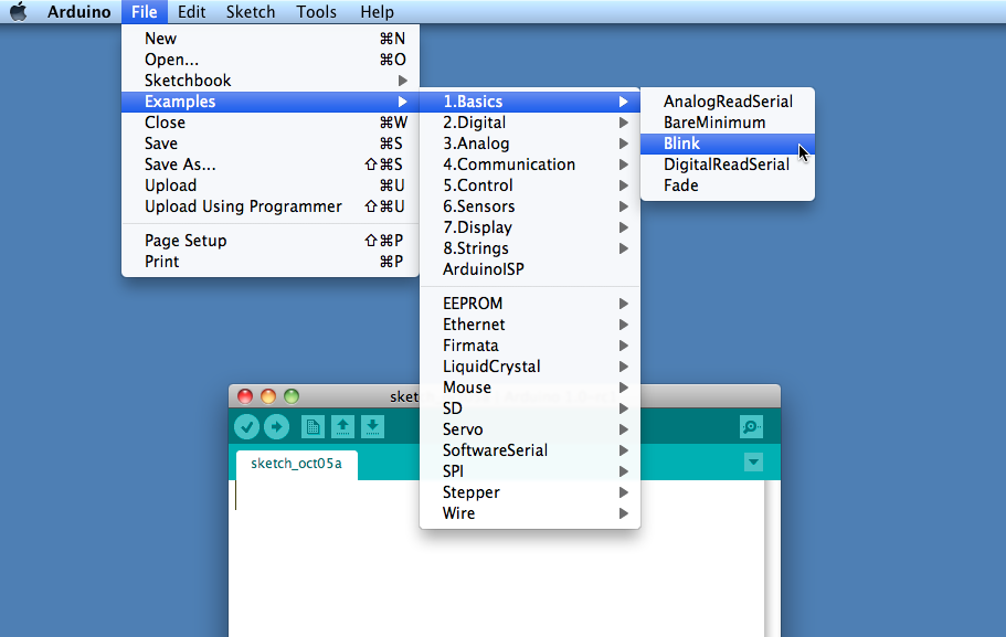 IDE menu (selecting the Blink example sketch)