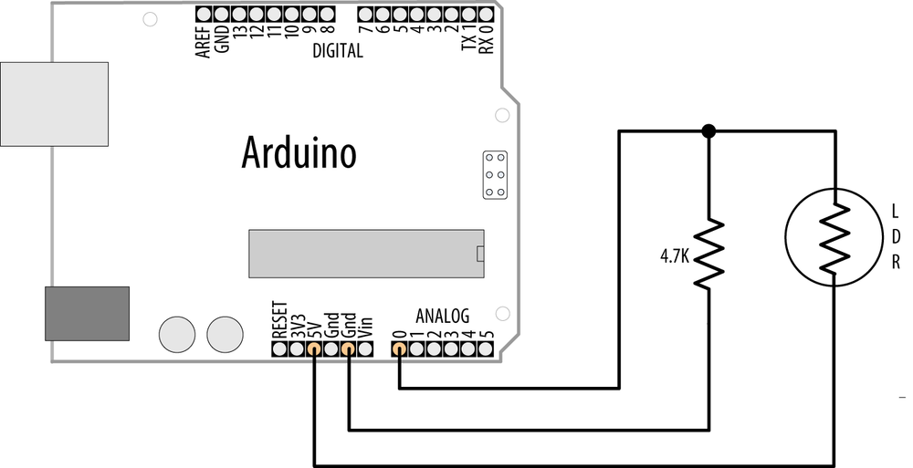 Arduino with light dependent resistor
