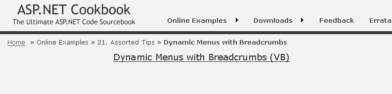Sample page with dynamic menu and breadcrumb trail