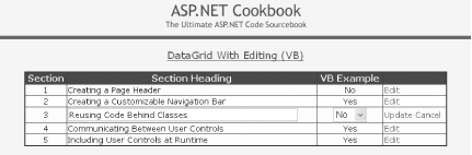 1 14  Editing Data Within a DataGrid - ASP NET Cookbook [Book]