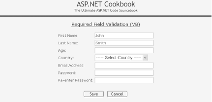 Form with required field validation output—normal