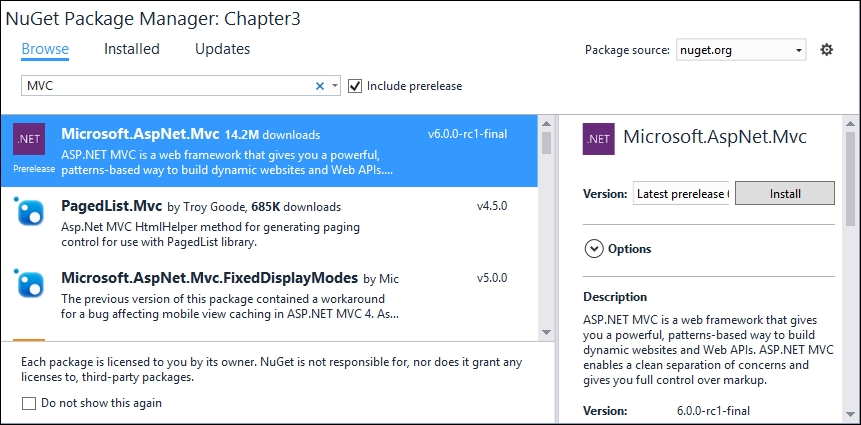Installing the ASP.NET Core NuGet package in your application