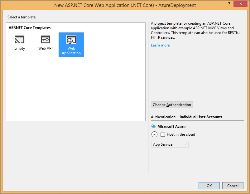 Deploying the ASP.NET Core application in Azure