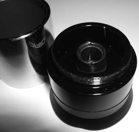 Remove the barrel from the Plössl eyepiece to reveal the field lens and field stop