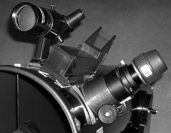 "A Telrad mounted on a 10"" Dobsonian scope"