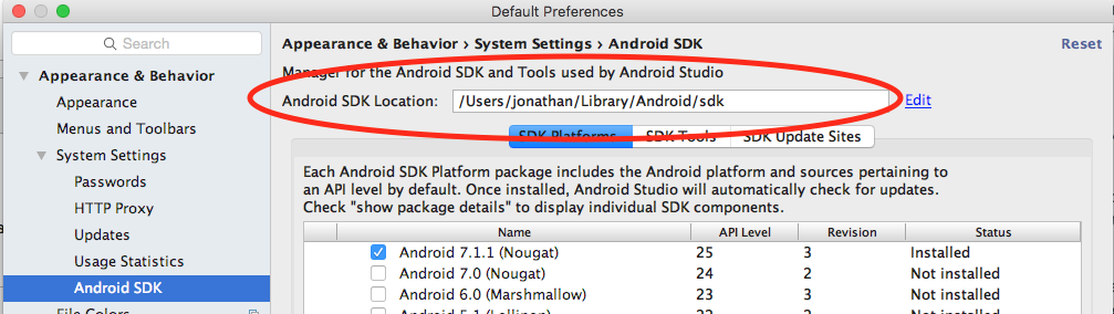 About your Android SDK root path location - Augmented Reality for