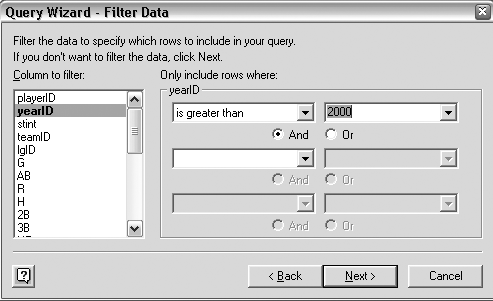 Filtering data through the Query Wizard