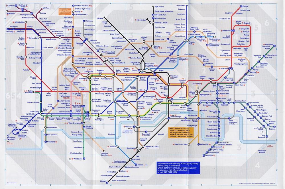 "The London Underground (""Tube"") map; 2007 London Tube Map © TfL from the London Transport Museum collection. Used with permission."